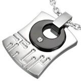 Pendentif acier 48 - Plaque avec cercle noir