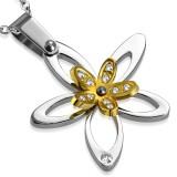 Pendentif acier 61 - Fleur grise et jaune