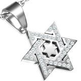 Pendentif acier 68 - étoile de David strass