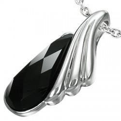 Pendentif acier 72 - Gros zircone noir