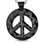 Pendentif acier 74 - Peace and love noir