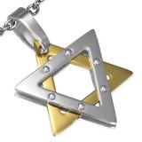 Pendentif acier 89 - étoile de David grise et jaune