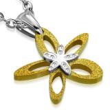 Pendentif acier 96 - Fleur jaune satin