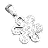Pendentif acier 113 - Fleur flocon grise