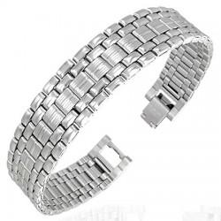 Bracelet en acier 05 - Cinq rangées argentées