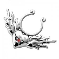 Faux-piercing pour téton 05 - Coeur et flammes