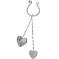 Faux-piercing pour téton 11 - Deux coeurs pendants