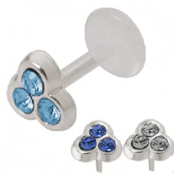 Piercing micro-labret PTFE 38 - Trois strass