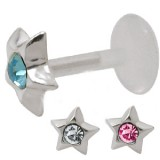 Piercing micro-labret PTFE 41 - étoile strass