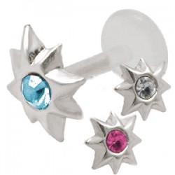 Piercing micro-labret PTFE 42 - étoile strass