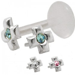 Piercing micro-labret PTFE 44 - Croix strass