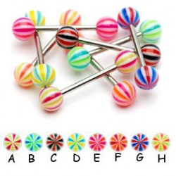 Piercing de langue UV 02 - Beach-ball bicolore