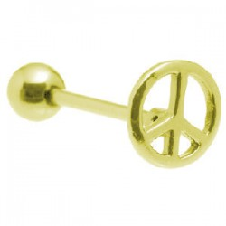 Piercing langue plaqué-or 04 - Peace and love