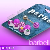 Pack de piercings langues 01 - Boules UV lilas