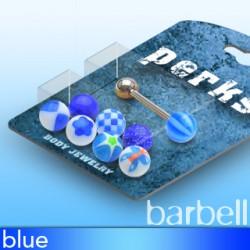 Pack de piercings langues 02 - Boules UV bleues