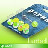 Pack de piercings langues 03 - Boules UV vert-pommes