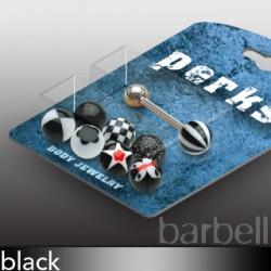 Pack de piercings langues 04 - Boules UV noires
