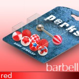 Pack de piercings langues 06 - Boules UV rouges