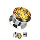 Plug en acier logo dévissable tigre B
