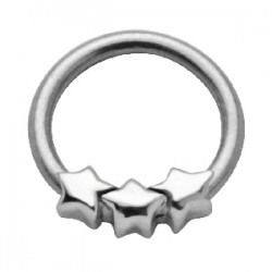 Piercing anneau 1,6mm 36 - Trois étoiles