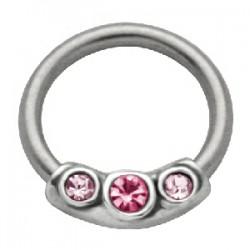 Piercing anneau 1,6mm 38 - Trois strass