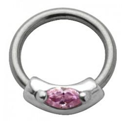Piercing anneau 1,6mm 40 - Zircone rose
