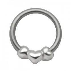 Piercing anneau 1,6mm 41 - Trois coeurs