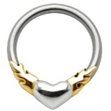 Piercing anneau 1,6mm 42 - Coeur flammes jaunes