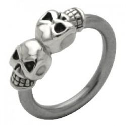 Piercing anneau 1,6mm 46 - Deux crânes