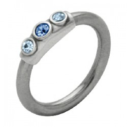 Piercing anneau 1,6mm 50 - Trois strass