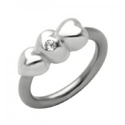 Piercing anneau 1,6mm 53 - Trois coeurs