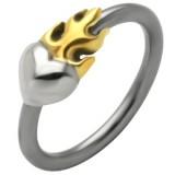Piercing anneau 1,6mm 54 - Coeur flamme