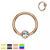 Piercing anneau 1,6mm 93 - PVD strass plat