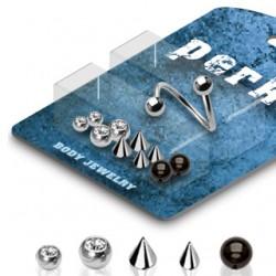 Pack de piercings micro-spirales 1 - Embouts divers