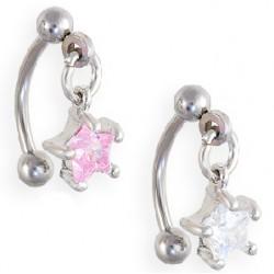 Piercing arcade 10 - Cristal étoiles pendantes