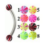 Piercing pour arcade acry 38 - UV beach-ball bicolore