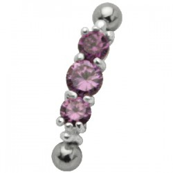 Piercing micro-barbell 38 - Trois strass lilas