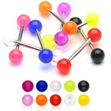 Piercing micro-barbell 28 - UV unicolore boules