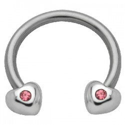 Piercing fer à cheval 35 - Coeurs strass roses