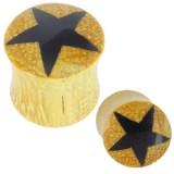 Plug courbe en bois de palmier étoile noire