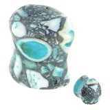 Plug courbe larme en agate bleue