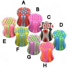 Plug acrylique courbe checker bicolore
