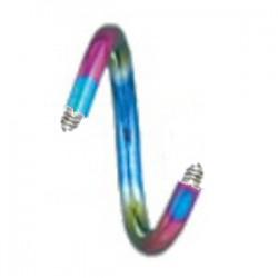 Barre piercing spirale 1.2mm PVD rainbow
