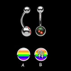 Piercing nombrils logos série gay pride