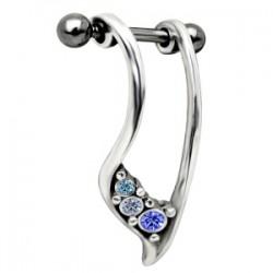 Piercing hélix 12 - Boucliers strass bleus