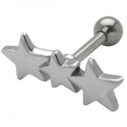Cartilage hélix, tragus 121 - Trois étoiles