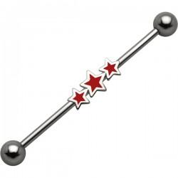 Piercing industriel 42 - Trois étoiles rouges