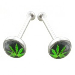 Piercing stud de nez 0.5mm 14 - Logo cannabis