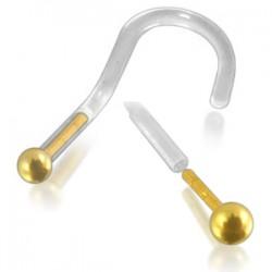 Piercing de nez courbe 1mm 21 - Or 14k PTFE boule