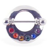 Piercing téton gay-pride 07 - Rond gris strass